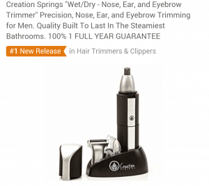 "Creation Springs ""Wet/Dry - Nose, Ear, and Eyebrow Trimmer"